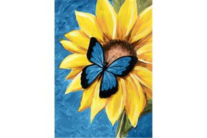Wizardi Diamond Painting Kit Butterfly and Sunflower WD031