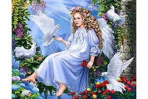 Wizardi Diamond Painting Kit Angels and Doves WD2405