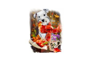 Wizardi Diamond Painting Kit Autumn Dog WD2349