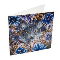 Crystal Card Kit | Diamond painting Cat and Flowers