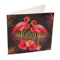 Crystal Card Kit | Diamond painting Pink Flamingoes