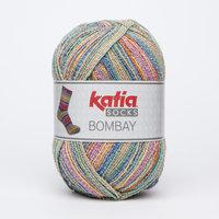 Katia Bombay Socks kleur 52 Oranje-Bruin-Groen-Jeans
