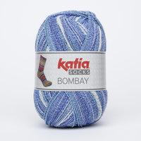 Katia Bombay Socks kleur 55 Jeans-Donker blauw-Parelmoer-lichtgrijs