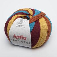 Katia Tropicana kleur 305 Groenblauw Wijnrood Pasteloranje
