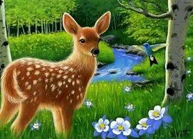 Diamond Painting DIY Bambi in bos 55x75cm