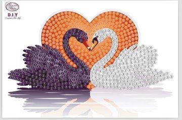 Crystal Art Motif Kit stickers   Kissing Swans