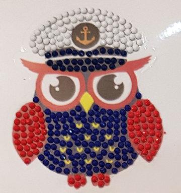 Crystal Art Motif Kit stickers   Captain Owl
