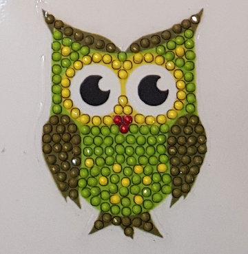 Crystal Art Motif Kit stickers   Green Owl