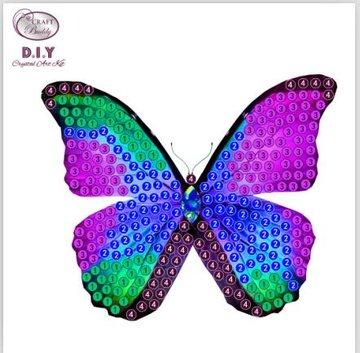 Crystal Art Motif Kit stickers   Disco Butterfly