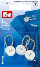 Prym flexi-knopen met lus 15 mm zilverkleurig