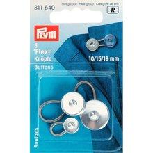 Prym flexi-knopen met lus 10-15-19 mm zilverkleurig