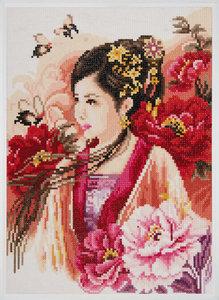 Lanarte Diamond painting kit Asian Ludy in Pink